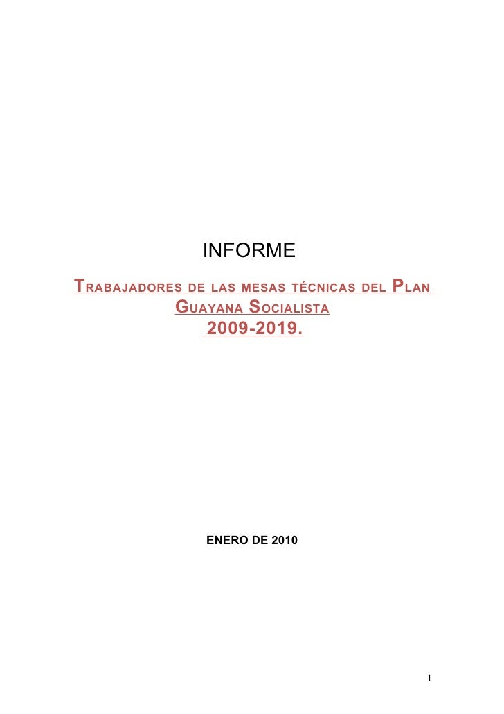 Informe Plan Guayana Socialista