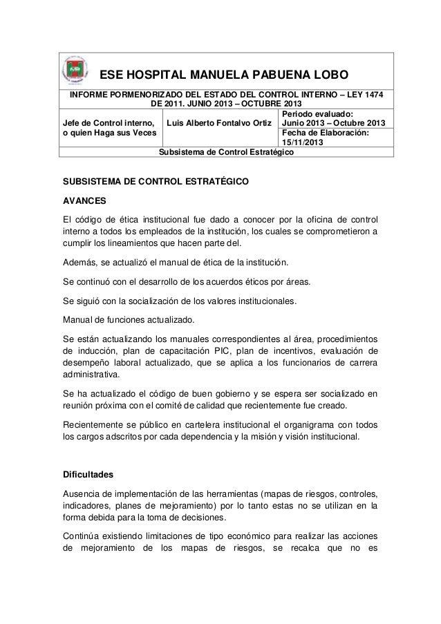 ESE HOSPITAL MANUELA PABUENA LOBO INFORME PORMENORIZADO DEL ESTADO DEL CONTROL INTERNO – LEY 1474 DE 2011. JUNIO 2013 – OC...