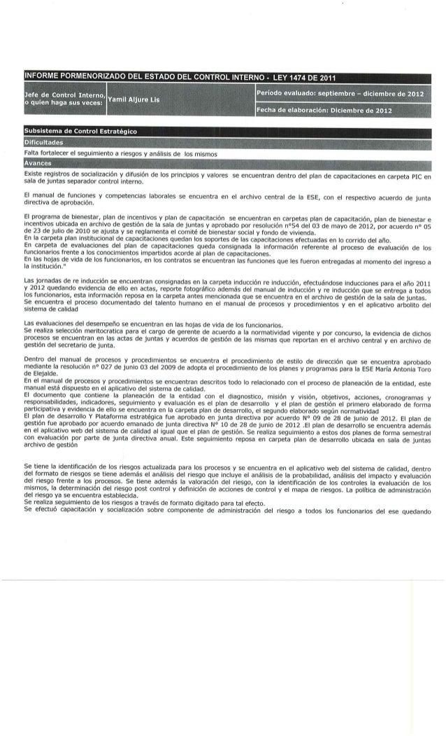 Informe pormenorizado del estado de control interno   ley 1474 de 2011