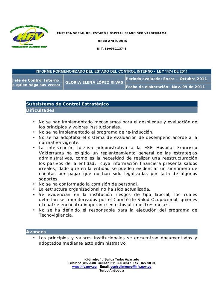 Informe pormenorizado del estado del control interno enero octubre
