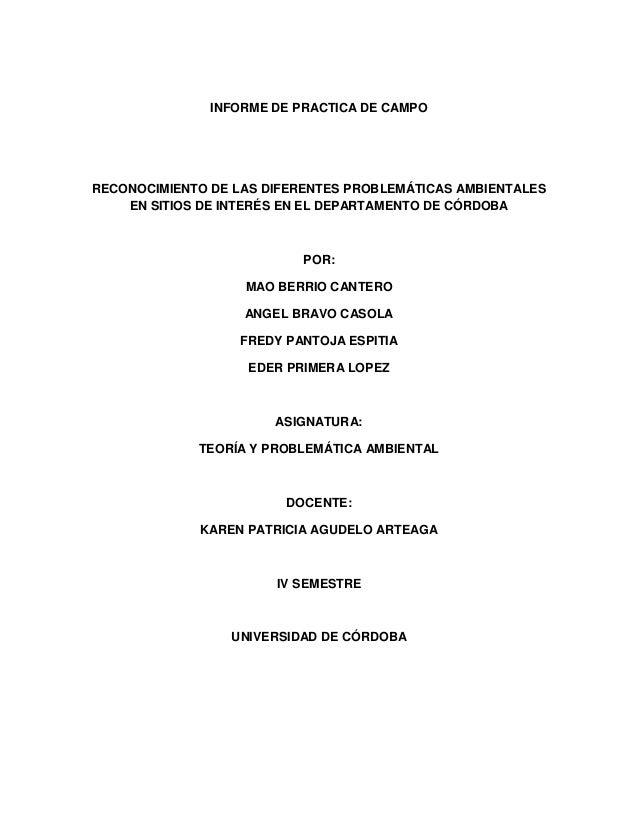 INFORME DE PRACTICA DE CAMPO  RECONOCIMIENTO DE LAS DIFERENTES PROBLEMÁTICAS AMBIENTALES EN SITIOS DE INTERÉS EN EL DEPART...