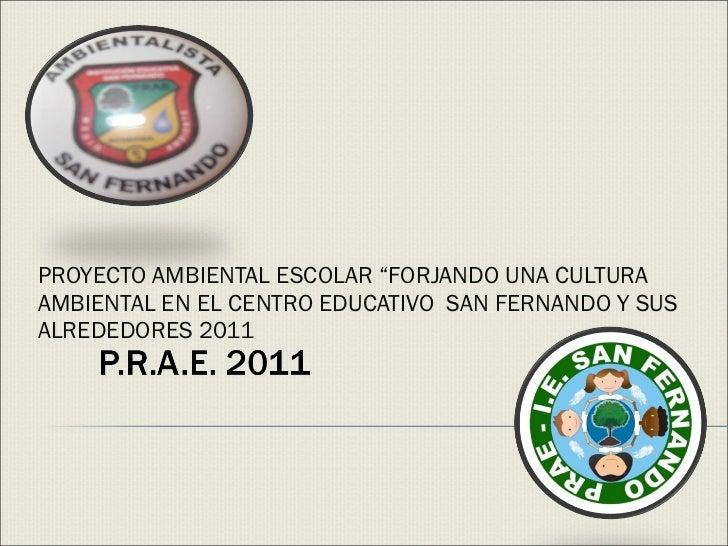 """PROYECTO AMBIENTAL ESCOLAR """"FORJANDO UNA CULTURA AMBIENTAL EN EL CENTRO EDUCATIVO  SAN FERNANDO Y SUS ALREDEDORES 2011"""