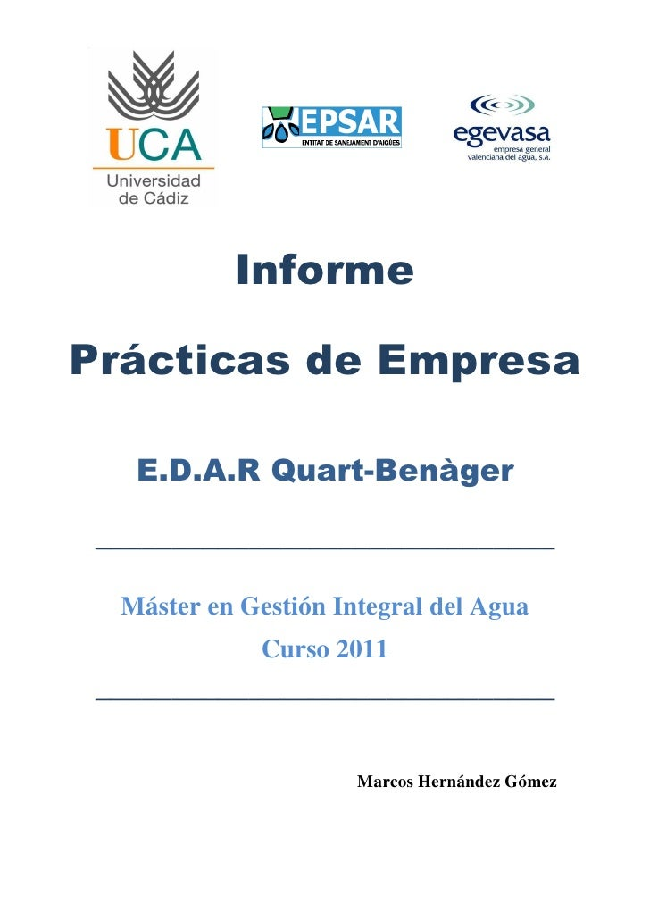 Informe Prácticas Aguas Residuales EDAR
