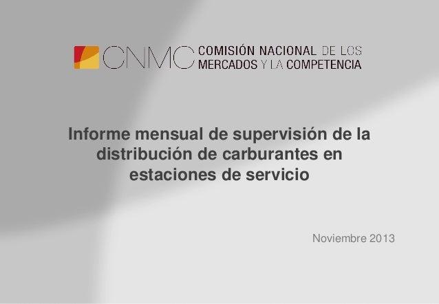 Informe de carburantes en estaciones de servicio: noviembre 2013