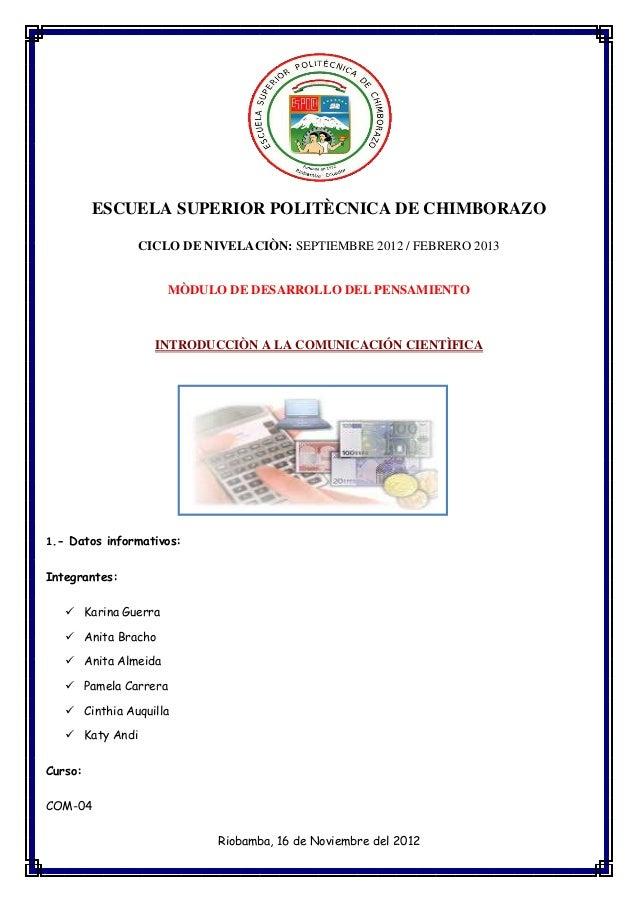 ESCUELA SUPERIOR POLITÈCNICA DE CHIMBORAZO                 CICLO DE NIVELACIÒN: SEPTIEMBRE 2012 / FEBRERO 2013            ...