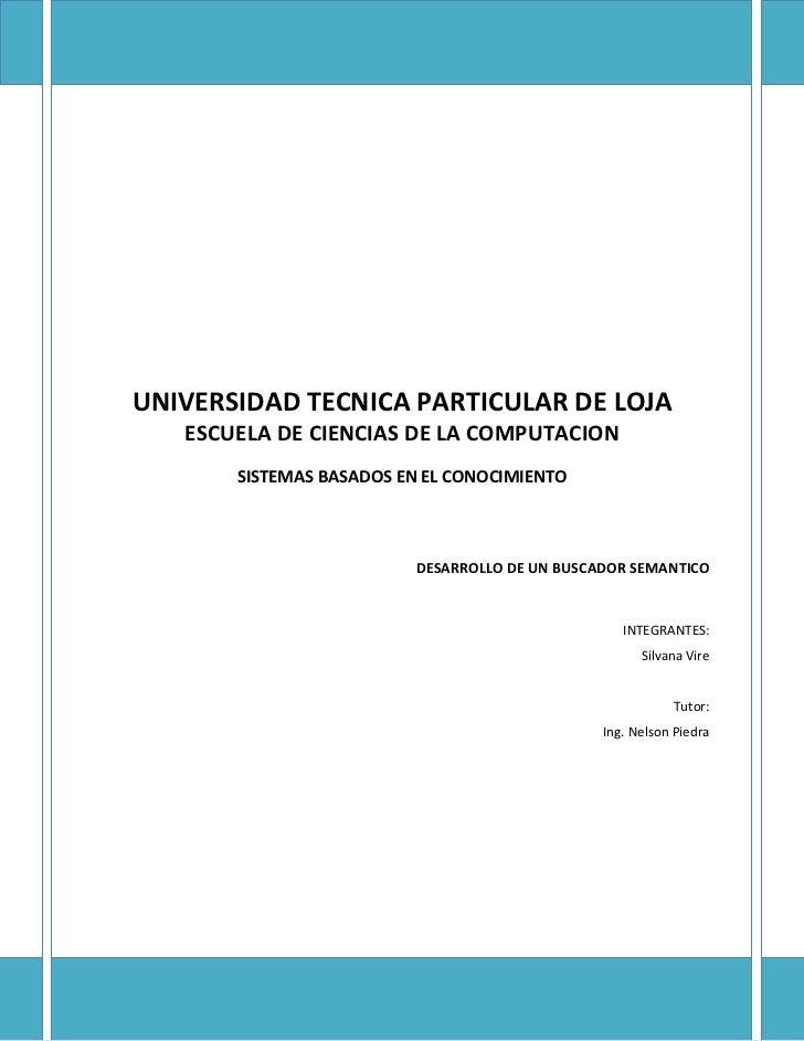 UNIVERSIDAD TECNICA PARTICULAR DE LOJA   ESCUELA DE CIENCIAS DE LA COMPUTACION       SISTEMAS BASADOS EN EL CONOCIMIENTO  ...