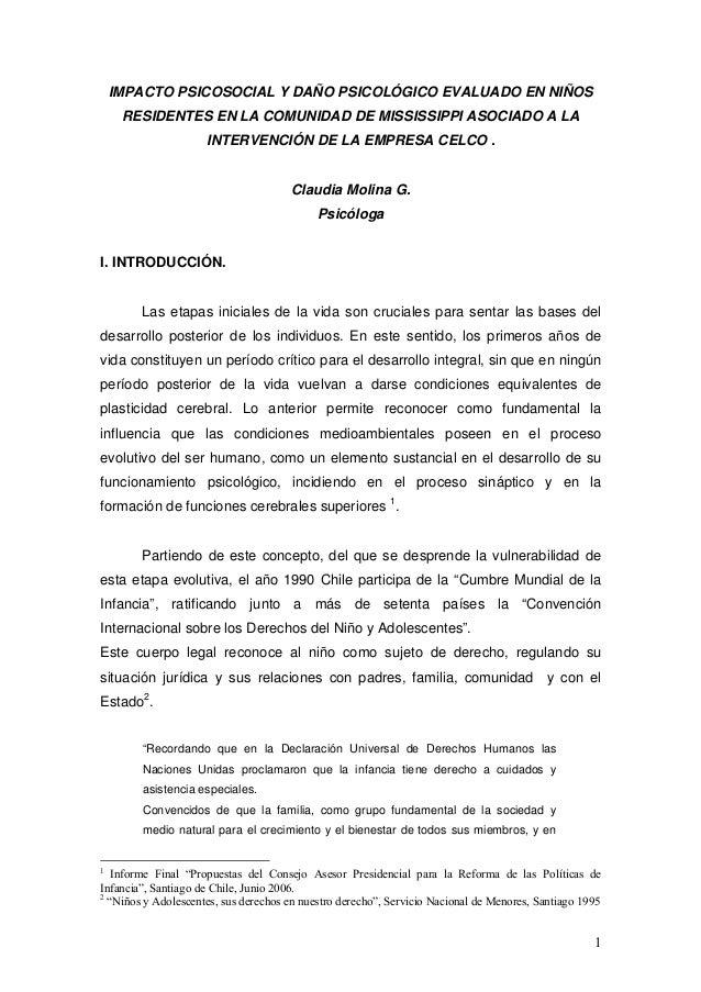 Informe psicologico niños comunidad mississipi por empresa celco