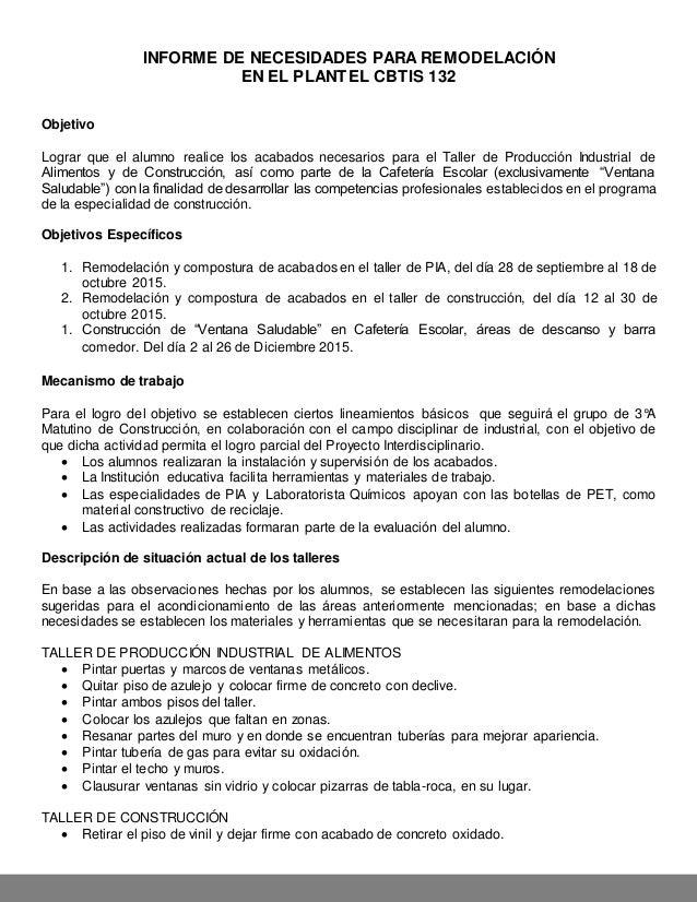 Informe remodelaci n taller pia for Proyecto de construccion de comedor escolar