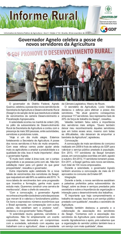 Secretaria de Agricultura e Desenvolvimento Rural  Informativo do Sistema Público da Agricultura - Ano II - Edição n° 54 -...