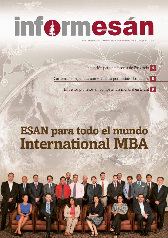 BOLETÍN BIMESTRAL DE LA UNIVERSIDAD ESAN, ENERO-FEBRERO 2014, AÑO XXXV, NÚMERO 218 ESAN para todo el mundo International M...