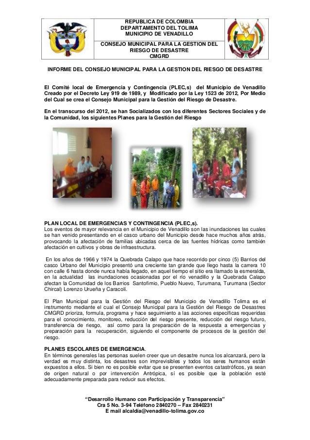 REPUBLICA DE COLOMBIA                                DEPARTAMENTO DEL TOLIMA                                 MUNICIPIO DE ...