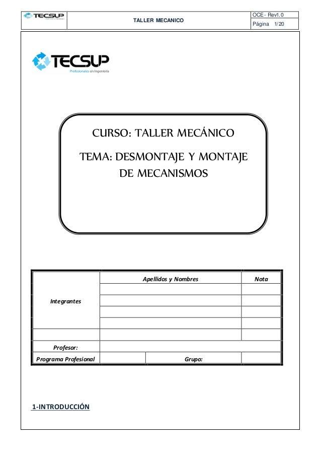 TALLER MECANICO OCE- Rev1.0 Página 1/20 QUIMICA I – OPERACION ES COMUNES 1-INTRODUCCIÓN Integrantes Apellidos y Nombres No...