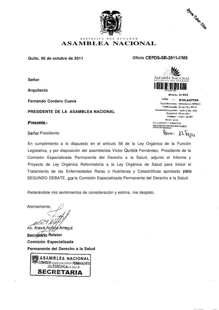 R E P Ú B L I C A   D E L   E C U A D O R                    ASAMBLEA NACIONALQuito, 06 de octubre de 2011                ...