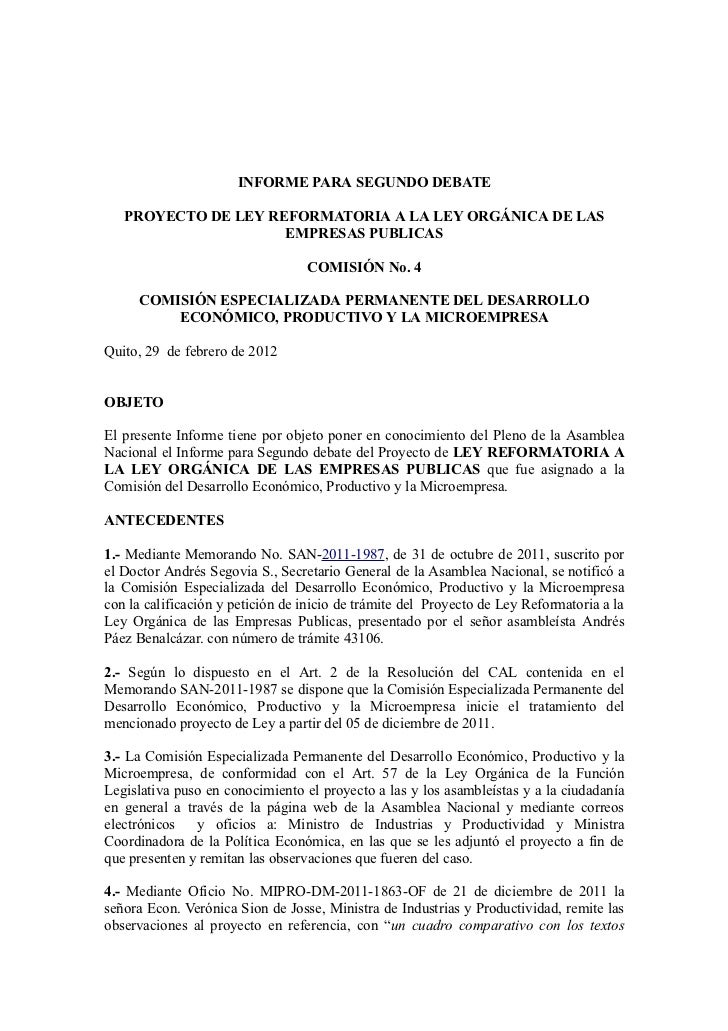 Proyecto de ley Reformatoria a la Ley Orgánica de las Empresas Publicas