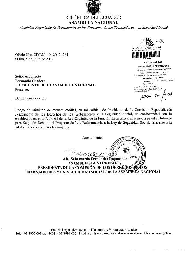 REPÚBLICA DEL ECUADOR                                  ASAMBLEA NACIONAL   Comisión Especializada Permanente de los Derech...