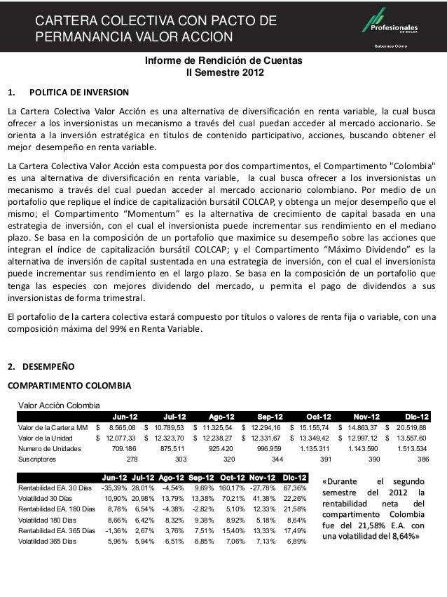 CARTERA COLECTIVA ESCALONADA VALOR ACCION          CARTERA COLECTIVA CON PACTO DE          PERMANANCIA VALOR ACCION       ...