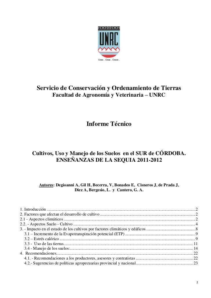 Servicio de Conservación y Ordenamiento de Tierras                            Facultad de Agronomía y Veterinaria – UNRC  ...