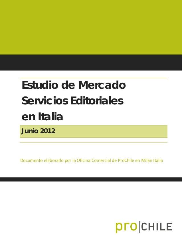 Informe Servicios Editoriales en Italia 2012
