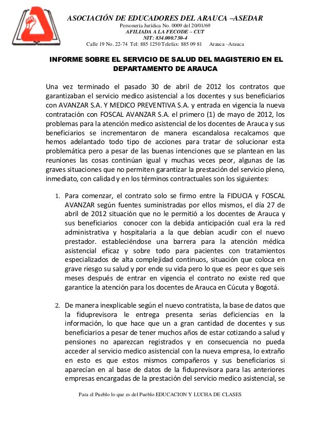 ASOCIACIÓN DE EDUCADORES DEL ARAUCA –ASEDAR                            Personería Jurídica No. 0009 del 20/01/69          ...