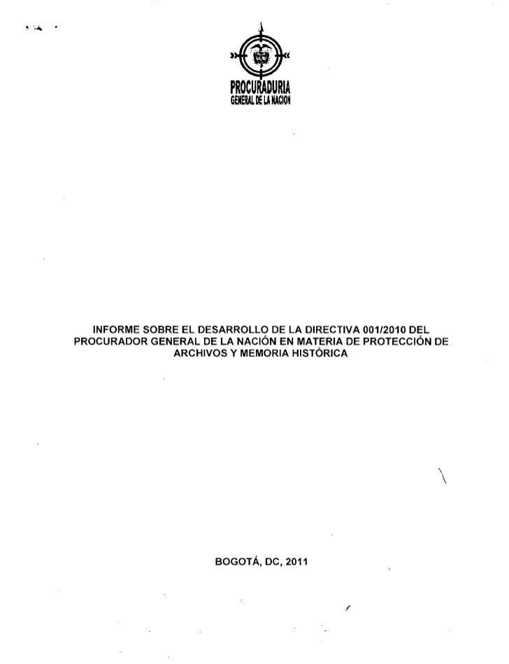 Informe sobre el desarrollo de la directiva 001 2010 del procurador general de la nación