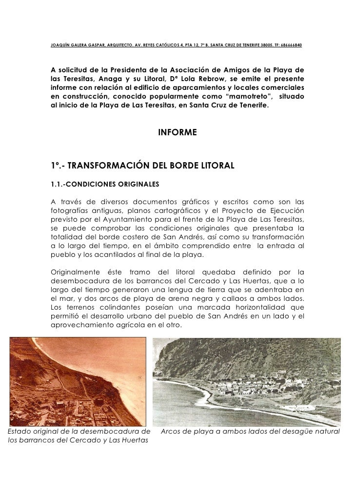 JOAQUÍN GALERA GASPAR, ARQUITECTO. AV. REYES CATÓLICOS 4, PTA 12, 7º B. SANTA CRUZ DE TENERIFE 38005. TF: 686666840       ...