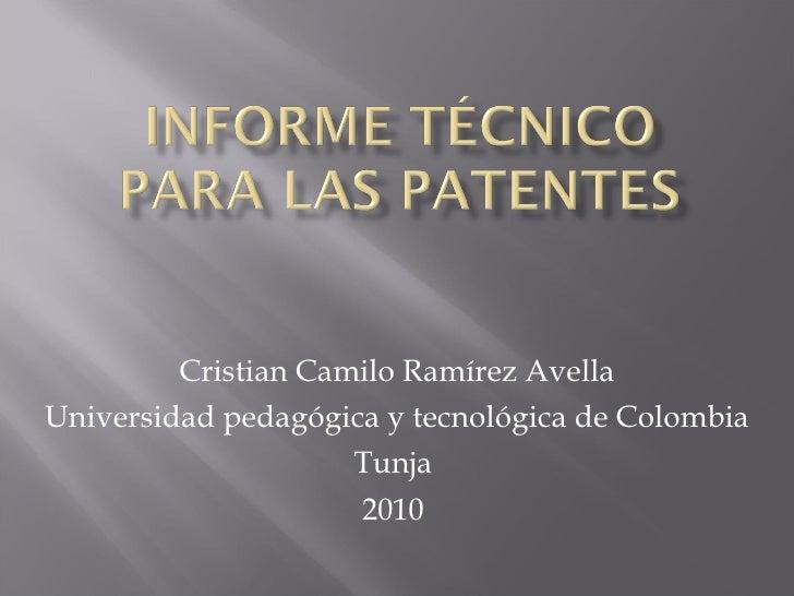 Informe TéCnico Para Las Patentes