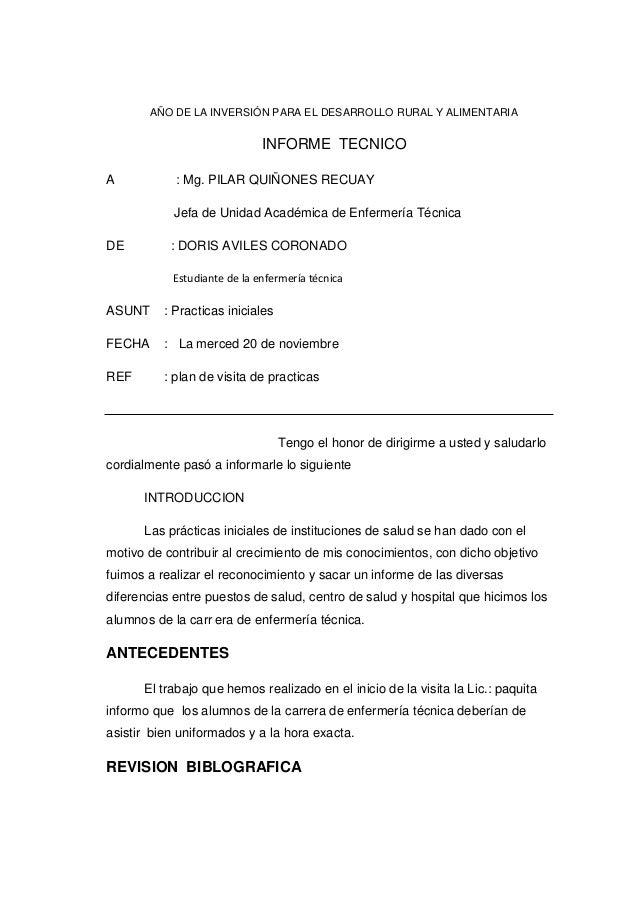 AÑO DE LA INVERSIÓN PARA EL DESARROLLO RURAL Y ALIMENTARIA  INFORME TECNICO A  : Mg. PILAR QUIÑONES RECUAY Jefa de Unidad ...