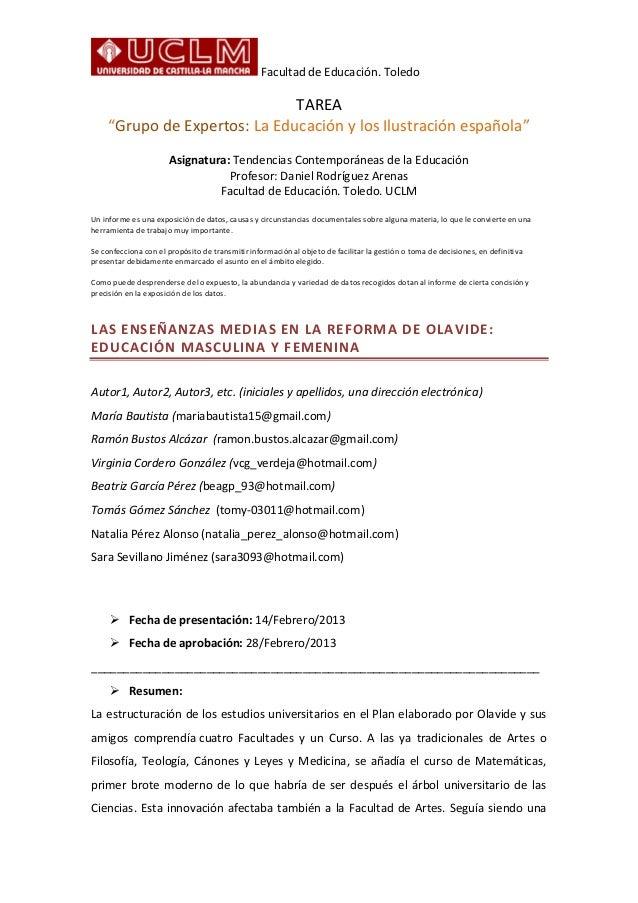 """Facultad de Educación. Toledo                               TAREA     """"Grupo de Expertos: La Educación y los Ilustración e..."""