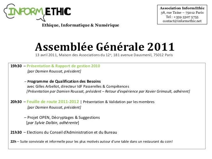 Association InformEthic<br />38, rue Taine – 75012 Paris<br />Tel: +339 5307 5755<br />contact@informethic.net<br />Ethiq...