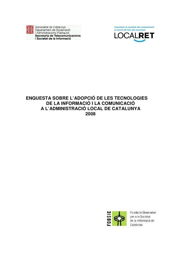 Informe Tic Ens Locals 2008