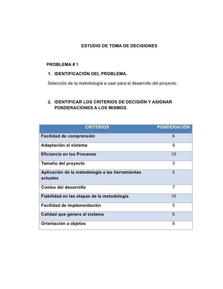 ESTUDIO DE TOMA DE DECISIONES      PROBLEMA # 1     1. IDENTIFICACIÓN DEL PROBLEMA.     Selección de la metodología a usar...