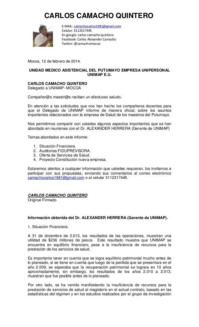 CARLOS CAMACHO QUINTERO E-MAIL: camachocarlos1981@gmail.com Celular: 3112317445 En google: carlos camacho quintero Faceboo...