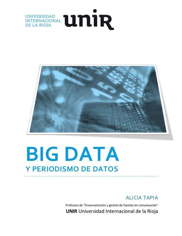 """BIG DATA Y PERIODISMO DE DATOS  ALICIA TAPIA Profesora de """"Documentación y gestión de fuentes de comunicación""""  UNIR Unive..."""