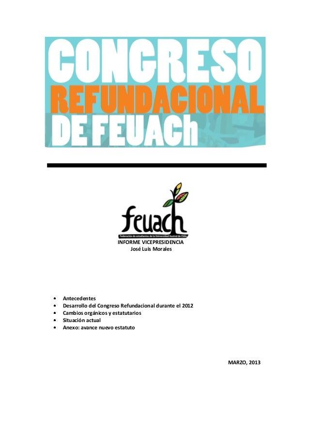 Informe vicepresidencia congreso refundacional feuach