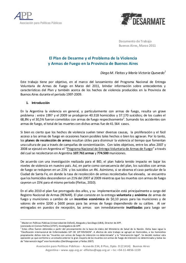 Plan de Desarme y la Violencia con Armas de Fuego en la Provincia de Buenos Aires