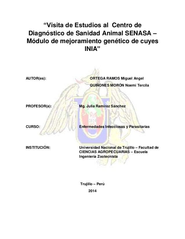 """""""Visita de Estudios al Centro de Diagnóstico de Sanidad Animal SENASA – Módulo de mejoramiento genético de cuyes INIA"""" AUT..."""