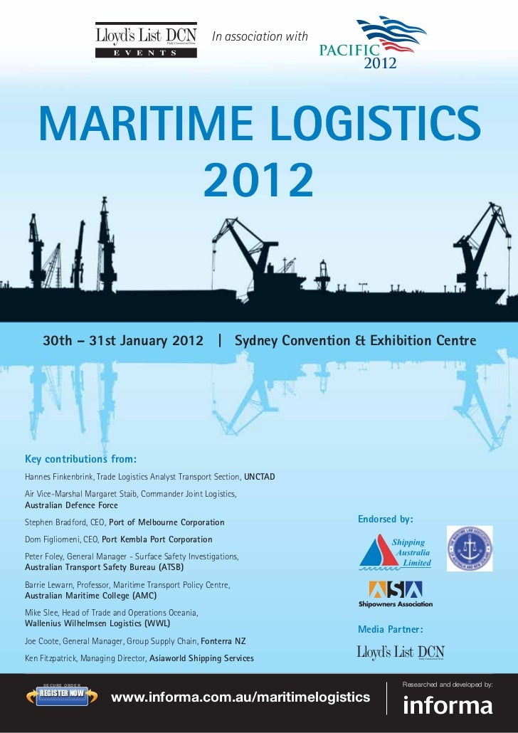 maritime logistics The graduate certificate in maritime and logistics management is an ideal  introductory management course for people wishing to acquire specific  management.