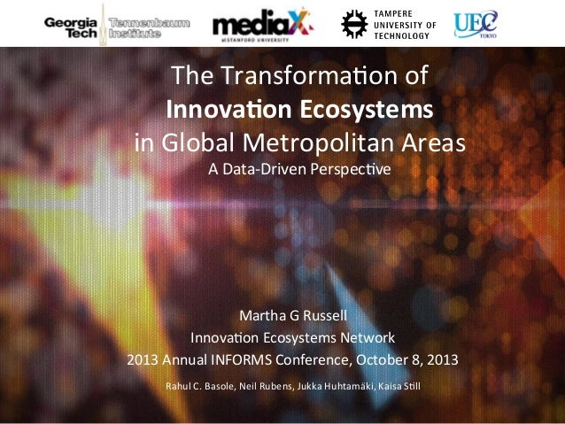 The Transformation of Innovation Ecosystems in Global Metropolitan Areas A Data-Driven Perspective