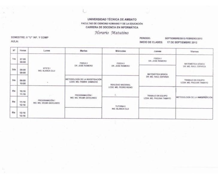 Horarios Carrera de Docencia Informática UTA - FCHE