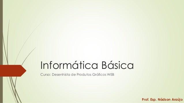 Informática Básica Curso: Desenhista de Produtos Gráficos WEB  Prof. Esp. Nádson Araújo