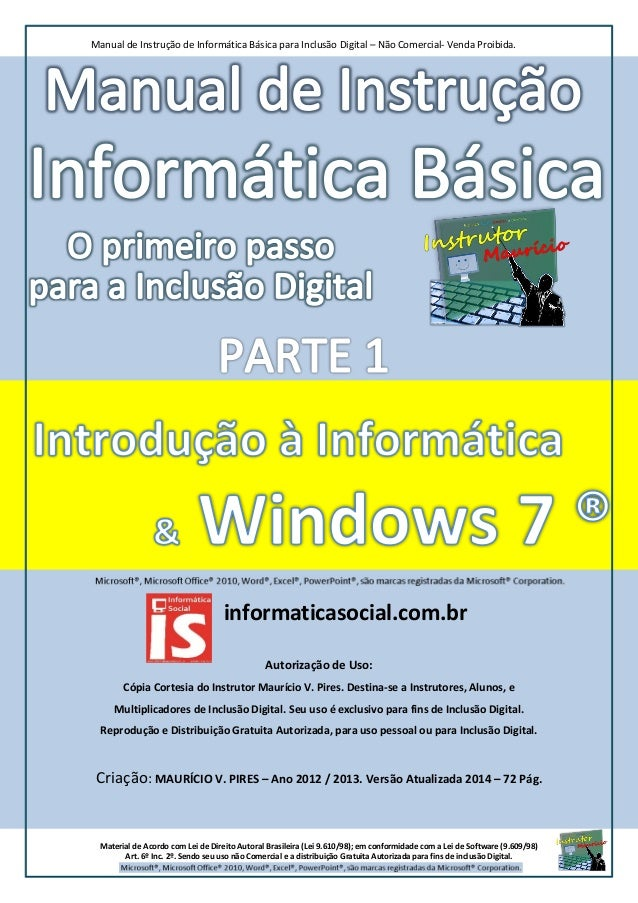 Informática Básica parte 1 - Introdução à informática e windows 7 -  Inclusão Digital.