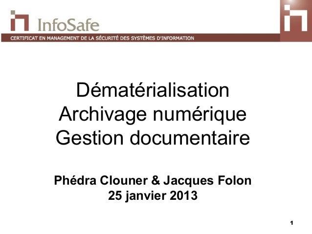 DématérialisationArchivage numériqueGestion documentairePhédra Clouner & Jacques Folon        25 janvier 2013             ...
