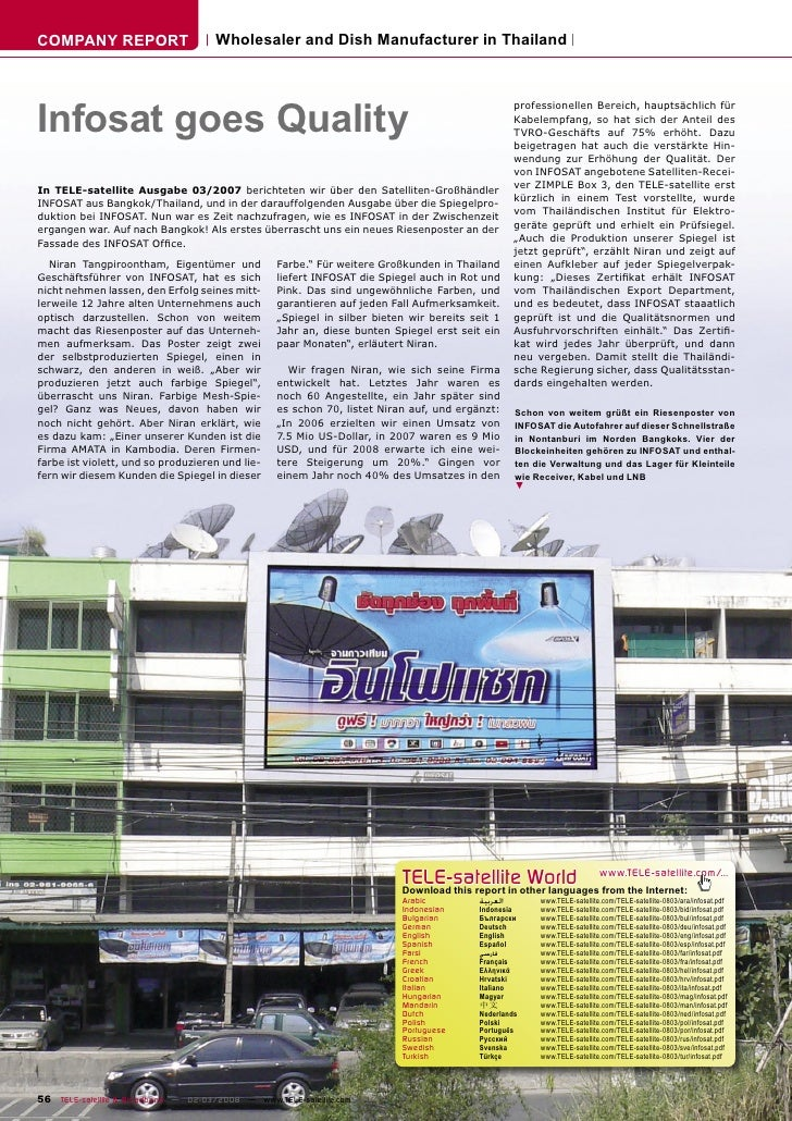 COMPANY REPORT                        Wholesaler and Dish Manufacturer in Thailand     Infosat goes Quality               ...