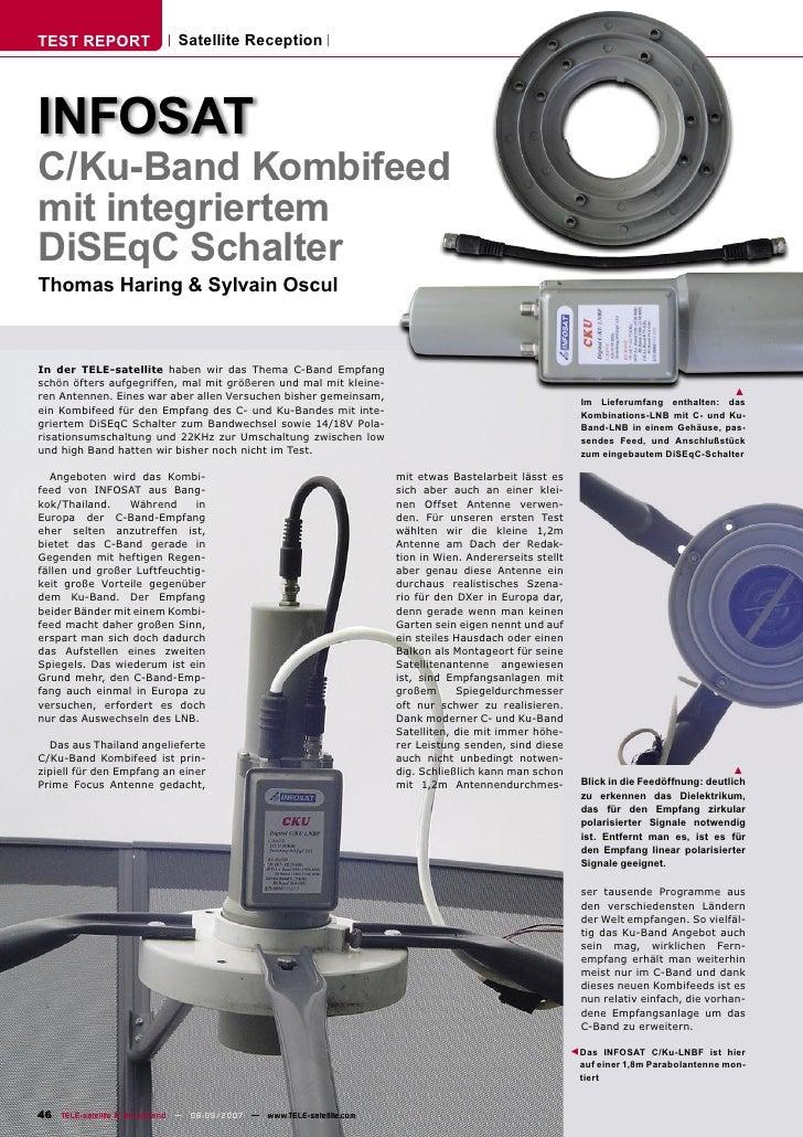 TEST REPORT                  Satellite Reception     INFOSAT C/Ku-Band Kombifeed mit integriertem DiSEqC Schalter Thomas H...