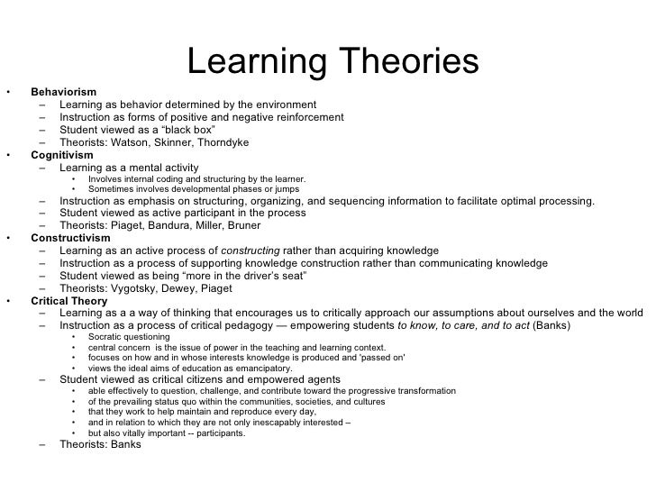 psychology learning theories essay Learning theories and models summaries explained & easy to understand useful for students and teachers in educational psychology, instructional design, digital media.