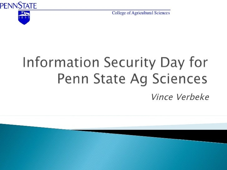 Information Security Day for Penn State Ag Sciences