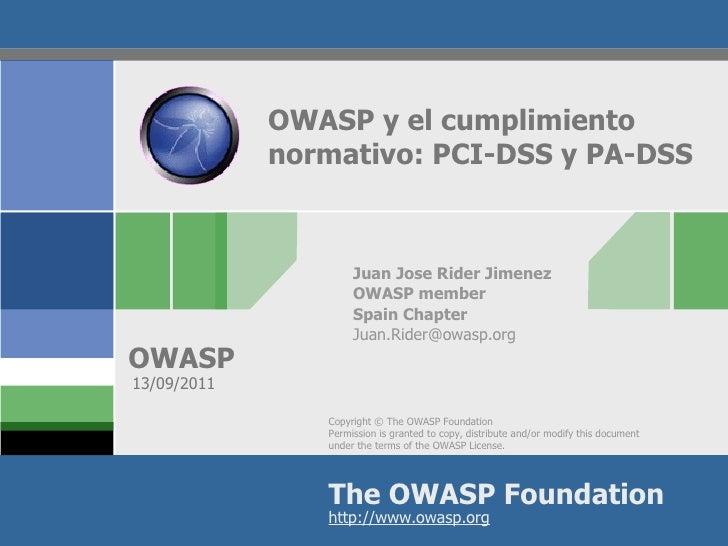 Infosecure 2011 owasp y cumplimiento normativo pci-dss y pa-dss