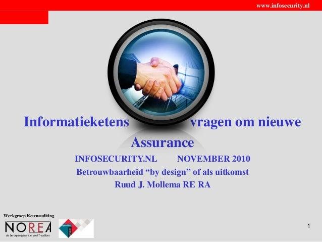 de beroepsorganisatie van IT-auditors www.infosecurity.nl 1 Informatieketens vragen om nieuwe Assurance INFOSECURITY.NL NO...