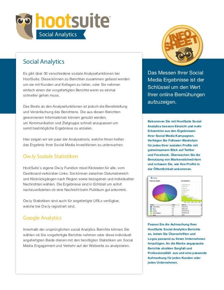 HootSuite Infosheet - Social Analytics (Deutsch/German)