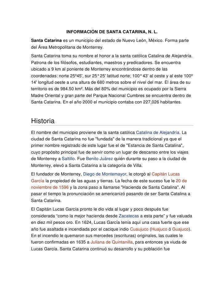 Información de Santa Catarina, N. L.